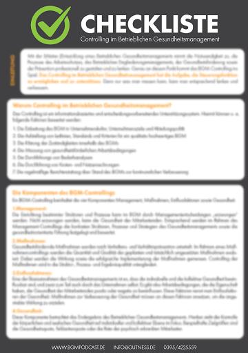 Checkliste BGM Controlling